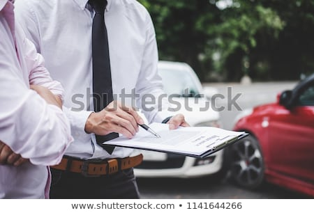 Traffic Accident And Insurance Concept Insurance Agent Working Сток-фото © Freedomz