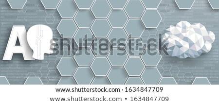Gray Hexagon Structure AI Data Cloud Header Stock photo © limbi007