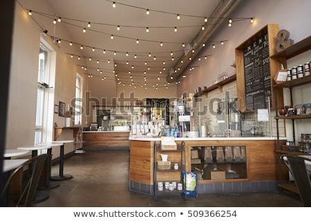 Kávéház belső emberek elmosódott kávézó absztrakt Stock fotó © vapi