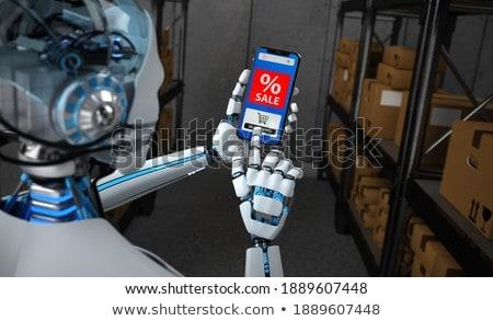 Humanoid Robot Smartphone Online Shopping Order Sale Stock photo © limbi007