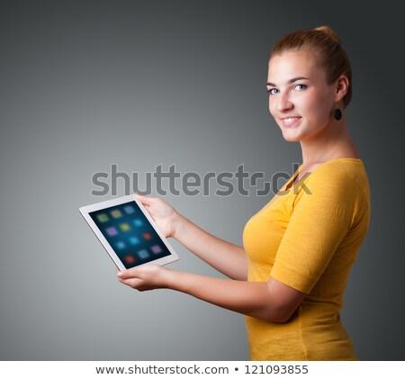 vrouw · moderne · tablet · kleurrijk · iconen - stockfoto © ra2studio