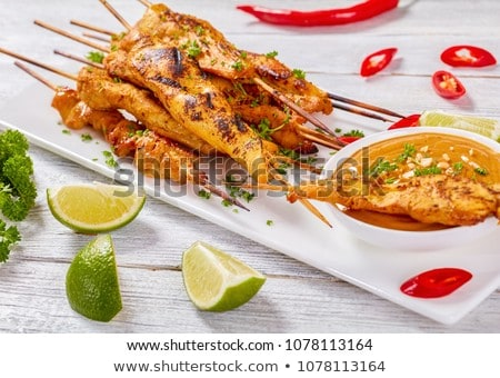 chicken satay on barbecue Stock photo © Hofmeester
