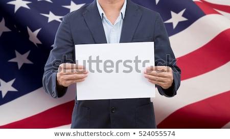 American Businessman holding business card with USA Flag Stock photo © stevanovicigor