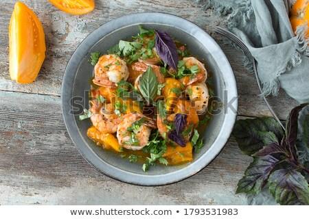 doldurulmuş · domates · karides · ahşap · akşam · yemeği · kokteyl - stok fotoğraf © m-studio