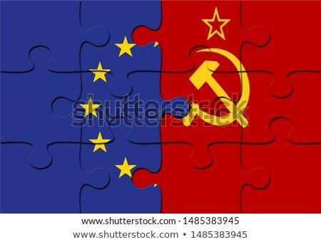 русский европейский Союза флагами головоломки вектора Сток-фото © Istanbul2009