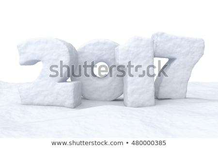 new year 2017 number or date on snow surface stock photo © dolgachov