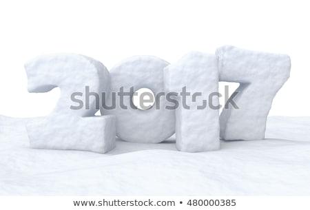Nouvelle année nombre date neige surface hiver Photo stock © dolgachov