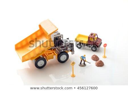 Mavi kamyon minyatür beyaz sanayi hizmet Stok fotoğraf © sqback