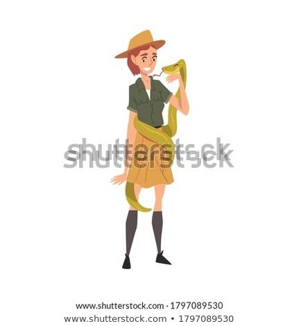 ontdekkingsreiziger · glimlachend · gelukkig · cartoon · kind · permanente - stockfoto © cthoman