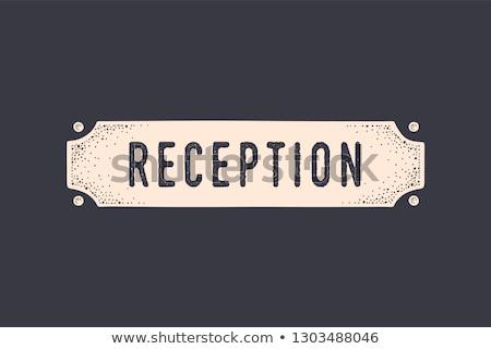 Podpisania recepcji starych szkoły drzwi banner Zdjęcia stock © FoxysGraphic