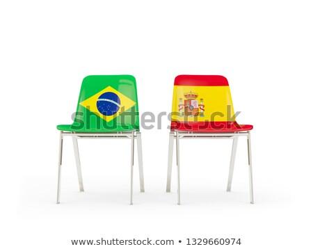 Twee stoelen vlaggen Brazilië Spanje geïsoleerd Stockfoto © MikhailMishchenko