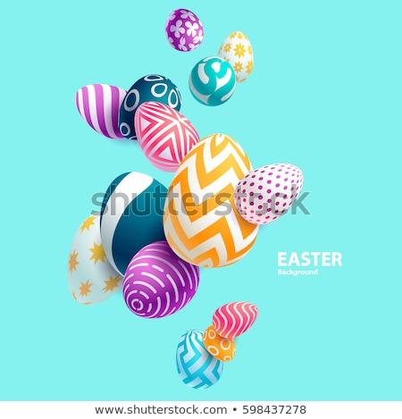Tarka húsvéti tojások dekoratív kellemes húsvétot húsvét tavasz Stock fotó © Artspace