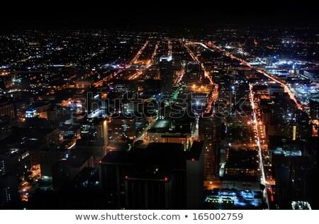 Stockfoto: Futuristische · nacht · stadsgezicht · neon · vector · illustratie