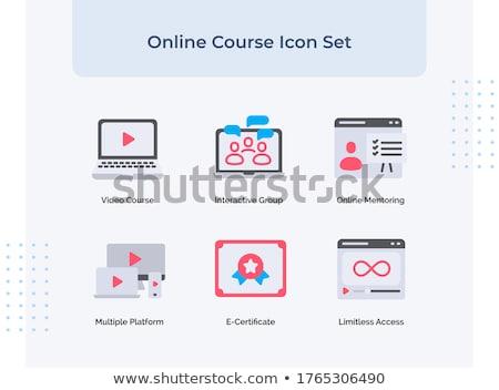 Vágány online weboldal ikon szett vektor képernyő Stock fotó © robuart