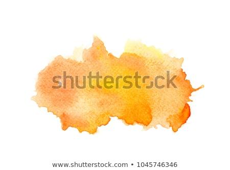 Naranja acuarela mancha aislado blanco arte Foto stock © ShustrikS