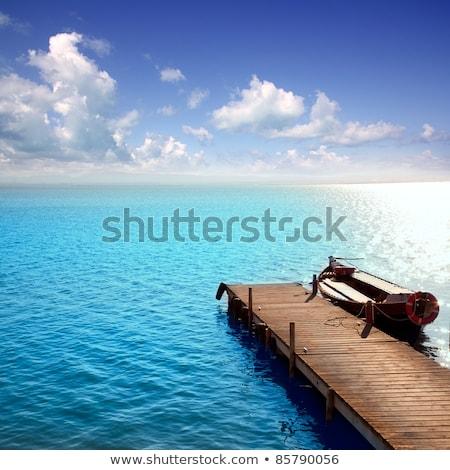 albufera blue boats lake in el saler valencia stock photo © lunamarina