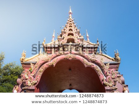 Thai Northern Gold Art of Arched entrance door Stock photo © nuttakit