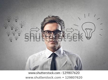 Photo stock: Idée · affaires · pense · isolé · blanche · affaires