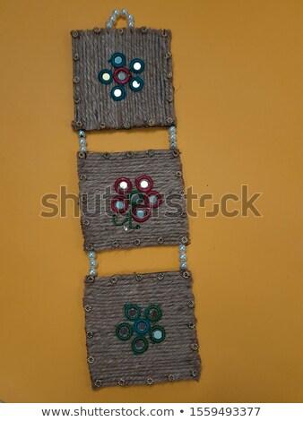 Cadre fleurs précieux pierres illustration grille Photo stock © yurkina