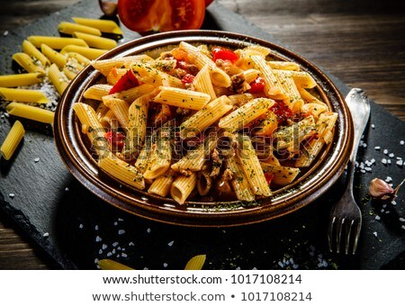 hús · spagetti · fűszeres · mártás · paradicsom · bors - stock fotó © punsayaporn