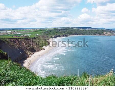 Strand rotsen zand kust scène Stockfoto © jenbray