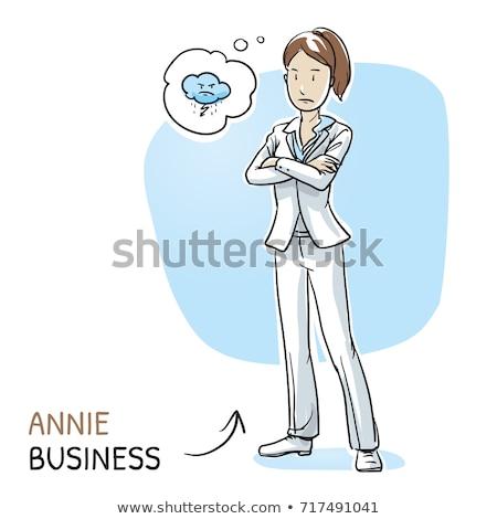 Desenho animado mulher dobrado brasão balão de pensamento mão Foto stock © lineartestpilot