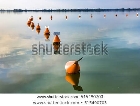 Stock fotó: Festői · tükröződés · tó · késő · délután · naplemente