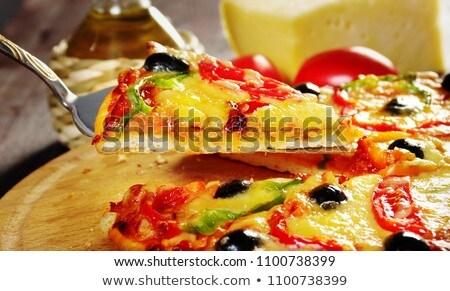 Ana Sayfa Pizza M Paprika Ve Zeytin Stok fotoğraf © Fanfo