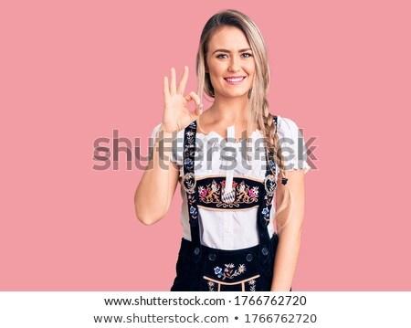 Oktoberfest meisje illustratie beker pub vers Stockfoto © adrenalina