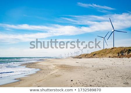 Stock fotó: Szél · energia · gyönyörű · kék · ég · naplemente · technológia