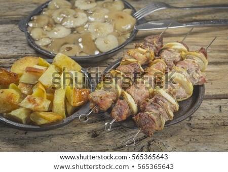 disznóhús · nyárs · krumpli · új · vágódeszka · zöld - stock fotó © Digifoodstock