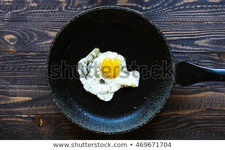 Tükörtojás fekete serpenyő sötét öreg koszos Stock fotó © DavidArts