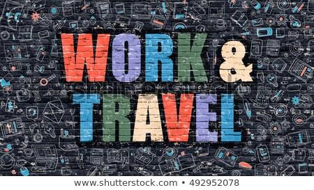 work and travel in multicolor doodle design stock photo © tashatuvango