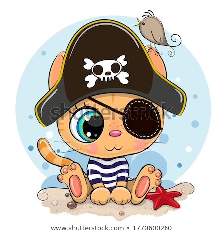 Cartoon Smiling Pirate Kitten Stock photo © cthoman