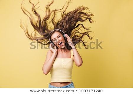Portret zabawny kobieta 20s długie włosy Zdjęcia stock © deandrobot