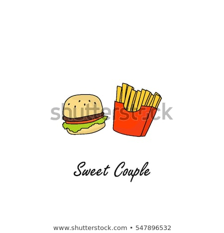 Patates kızartması hamburger paket soğan jambon peynir Stok fotoğraf © robuart
