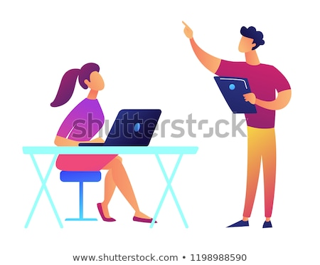 Hoogleraar tablet wijzend student laptop luisteren Stockfoto © RAStudio