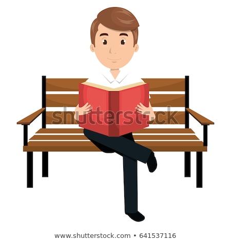 Jongen vergadering bank park cartoon vector Stockfoto © robuart