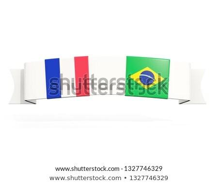 баннер два квадратный флагами Франция Бразилия Сток-фото © MikhailMishchenko