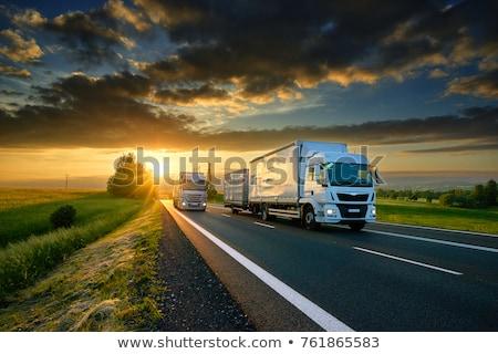 Vervoer weg vrachtwagen icon sticker vierkante Stockfoto © Ecelop