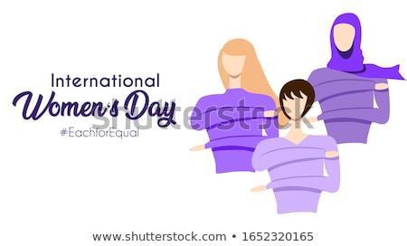 Día de la mujer anunciante diverso ninas feliz ilustración Foto stock © cienpies
