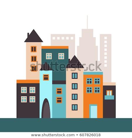 Renk bağbozumu gayrimenkul ajans afiş simge Stok fotoğraf © netkov1