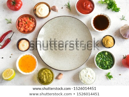 Set unterschiedlich beliebt Schalen Ketchup Senf Stock foto © karandaev