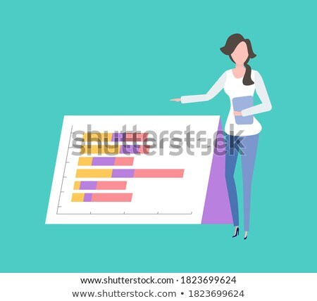 Worker showing Colorful Infochart, Woman Vector Stock photo © robuart