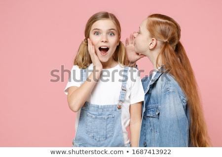Filles amis denim image étonné deux Photo stock © deandrobot
