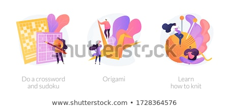 Learn how to knit abstract concept vector illustration. Stock photo © RAStudio