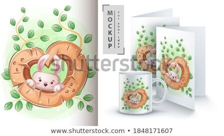 Konijn beker poster vector eps 10 Stockfoto © rwgusev