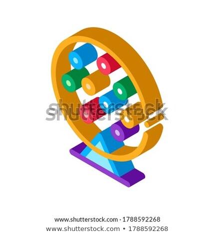 Loterij trommel isometrische icon vector teken Stockfoto © pikepicture