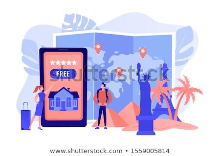 Vendégszeretet utazás turista ügynökség mobil app Stock fotó © RAStudio