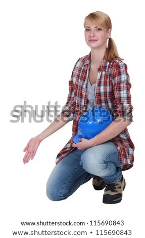 Female artisan kneeling and gesturing Stock photo © photography33